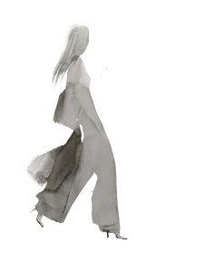 Watercolour fashion illustration; fashion silhouette; fashion drawing // Aurore de la Morinerie