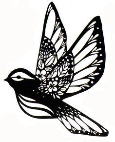 Sparrow – paper cut | Fx Paper cut | Stencil | Silhouette