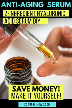 Save money on your anti-aging skin care products by making your own! With as few as you can make your own DIY hyaluronic acid serum. Or add a few more ingredients for a power packed vitamin C serum! Learn about hya Homemade Skin Care, Diy Skin Care, Homemade Beauty, Homemade Facials, Anti Aging Serum, Anti Aging Skin Care, Hyaluronic Serum, Organic Skin Care, Skin Care Products