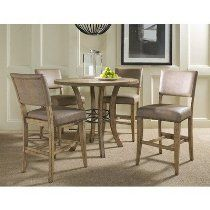 The counter height of the Hillsdale Charleston 5 pc. Round Wood Counter Height Set with Parson Chairs puts a contemporary spin on traditional dining. Round Wood Table, Round Dining Set, Kitchen Dining Sets, Counter Height Dining Table, Dining Room Sets, Wood Counter, Kitchen Ideas, Kitchen Tables, Kitchen Inspiration