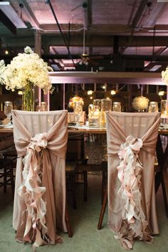 Haute Seats - Wedding Chair Treatments | Photo by Tracy Autem Photography. #wedding #chairtreatment #gold #pink #ruffles