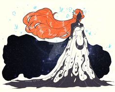 Orihime as an arrancar. Version Silouhette Mistress of the Night. Bleach Orihime, Ulquiorra And Orihime, Bleach Manga, Manga Anime, Anime Art, Anime Boys, Cosmos, Anime Sketch, Animes Wallpapers