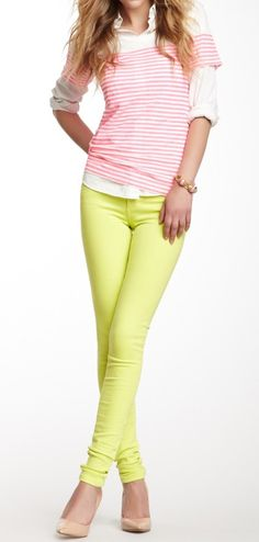 Nude Pink White Stripes Lime Green Outfit
