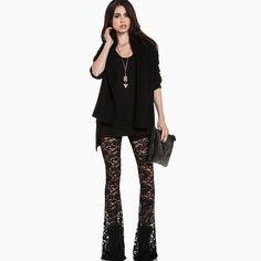 532a7833e83a Hollow Out Lace Bellbottoms Flares Pants. Bell BottomsShort JumpsuitLace  FlowersLong BlackBlack PantsWomen s Summer FashionSummer ...