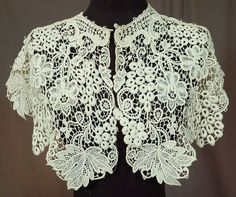 Victorian Antique White Floral Grape Leaf Lace Large Shawl Collar Capelet Vtg