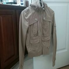 Tan hooded jacket Super comfy zip up jacket. Gently used. Only wore it a couple times. The hood is removable. Looks super cute with or without the hood! Jackets & Coats