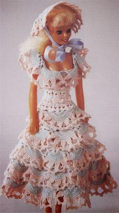 Roupa de Crochê Para Barbie Com Gráfico