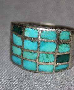 $265 Blue Gem Channel Set Turquoise Ring, Jewelry by  Zuni