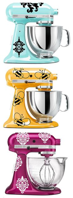 """You can do this with any vinyl """"wall decals!"""" Black Vinyl Bumblebee KitchenAid Mixer Decal - Set of Nine Kitchenaid Artisan, Artisan Mixer, I Love Bees, Cocinas Kitchen, Save The Bees, Bees Knees, Kitchen Gadgets, Kitchen Tools, Red Kitchen"""