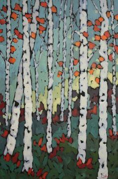 "Jennifer Woodburn ""Confetti Forest"" 36x24 inches"