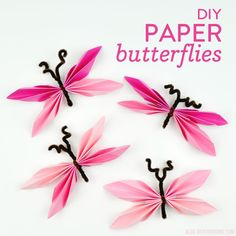 Paper Butterflies, Butterfly, Montessori Classroom Layout, Frosted Glass Paint, Diy And Crafts, Paper Crafts, Martha Stewart Crafts, Different Shades Of Pink, Pink Paper