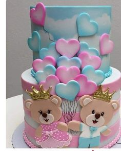 Twin Birthday Cakes, Birthday Cakes Girls Kids, Baby Reveal Cakes, Ocean Cakes, Twins Cake, Girl Cakes, Cute Cakes, Baby Shower Cakes, Cake Designs