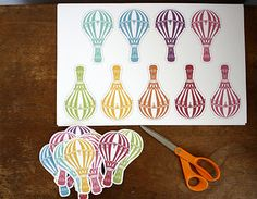 This week I cut out lots & lots of little hot air balloons from cardstock & made lots & lots of little hot air balloon ornaments. Air Ballon, Hot Air Balloon, Balloon Party, Paper Crafts, Diy Crafts, Thinking Day, Filofax, First Birthdays, Party Time