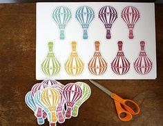 "hot air balloon ornaments; (p.s. i should start a ""Laelia's Second Birthday"" board soon, huh... >.>)"