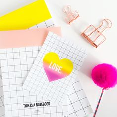 Grid collection / notebook / love / postcard / Studio Stationery