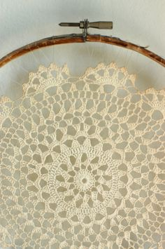 Vintage Crocheted Doily Wall Hanging by bonnbonn on Etsy