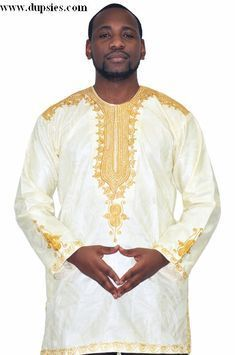 mens african brocade special occasion shirt | White and Gold African New Look Contemporary Brocade Shirt-DPS01