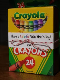 Valentine's Day treats instead of candy. Get the crayons when they're cheap before school starts and kids crayons are always dull or broken by mid school year. Love it!
