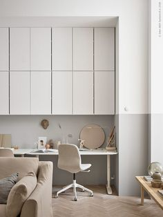 Some inspiration from Ikea Livet Hemma today, with two very different living room looks. The first is a soft minimalism style living room created by interior designer Susanne Swegen. Beige Living Rooms, Ikea Living Room, Living Room Kitchen, Beige Room, Beige Walls, Swedish Interiors, Scandinavian Interior Design, Scandinavian Office, Nordic Design