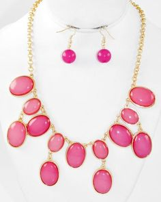 Gold Tone / Pink Acrylic / Lead Compliant / Charm / Necklace & Fish Hook Earring Set