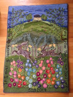 "Hooked rug, original design and hooking by Elizabeth Boyer. ""If I ever go looking for my hearts desire, I won't look any further than my own backyard."""