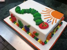 This Eric Carle Cake features a Very Hungry Caterpillar.