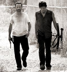 Rick Grimes & Daryl Dixon (they were bromancing so hard this week...they wanted to hug so bad after Daryl came back and saved Rick!)