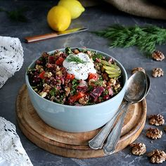 Delicious Russian Style Quinoa Salad with beetroot carrot kale pickles sauerkraut walnuts and heaps of fresh dill. Vegan Recipes Easy, Whole Food Recipes, Vegetarian Recipes, Free Recipes, Veggie Recipes, Salad Recipes, Growing Winter Vegetables, Winter Salad, Grain Foods