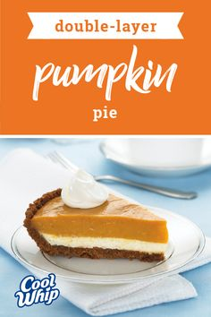 Double-Layer Pumpkin Pie – Up your game this Thanksgiving season by serving up pumpkin pie featuring a delicious layer made with PHILADELPHIA cream cheese, vanilla pudding, and COOL WHIP! This recipe is sure to be a favorite for a reason. Cream Cheese Pie, Pumpkin Cream Cheeses, Cream Cheese Recipes, Double Layer Pumpkin Pie, Layered Pumpkin Cheesecake, Cheesecake Recipes, Dessert Recipes, Pastry Recipes, Cool Whip Pies