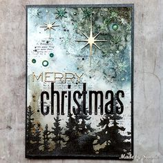 Let's Sparkle Christmas card with video tutorial ~ Made by Sannie Merry Christmas Card, Christmas Cards To Make, Christmas Makes, Xmas Cards, Holiday Cards, Christmas Crafts, Winter Karten, Winter Cards, Card Sketches