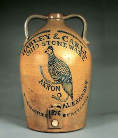 Cobalt slip decorated presentation cooler made by John Park Alexander. Akron, Ohio, 1876