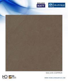 "Millennium Tiles 800x800mm (32x32) Vitrified Matt Porcelain XL Tiles Series ""Salvia Copper"""