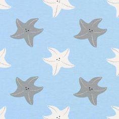 Tela de jersey Estrellas de mar – azul claro  11E
