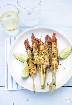 hot chili, garlic and lemongrass marinated grilled shrimps www.pane-burro.blogspot.it