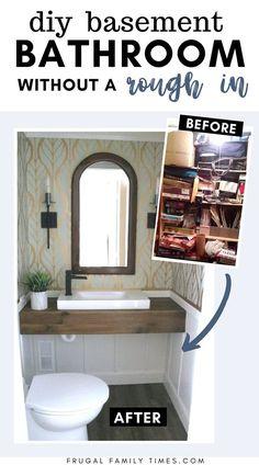 Basement Closet, Small Basement Bathroom, Add A Bathroom, Budget Bathroom, Bathroom Ideas, Eclectic Bathroom, Bathroom Inspiration, Modern Bathroom, Ikea Sinks