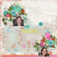 The Spring colors in Forever Friends digital scrapbooking kit by Aimee Harrison worked beautifully for this layout of my grandchildren. A Little Bit Arty #8 template by Heartstrings Scrap Art was a great way to get it scrapped  fast with class!