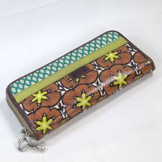 Fossil Keyper Teal Brown Floral Flowers Coated Canvas Wallet Zip Around Clutch | eBay