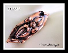 Copper Rose Brooch Modernist Vintage Jewelry Gift #Unbranded