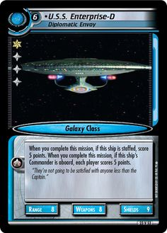 """""""•U.S.S. Enterprise-D, Diplomatic Envoy"""" [23 V 53] from the STAR TREK CUSTOMIZABLE CARD GAME 2nd Edition by DECIPHER 