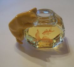Vintage Avon Cat and Fish Bowl Cologne Bottle - 100% to WIFCaP - Sweet Honesty via Etsy