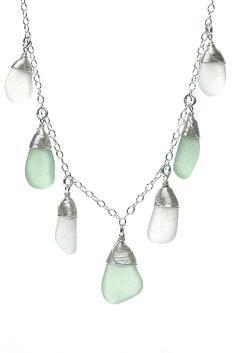 Sea Stone 7 Piece Sea Glass Necklace - Sea Spray