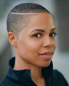 Nice shaved hair designs for women with black skin Natural Hair Short Cuts, Short Natural Haircuts, Tapered Natural Hair, Short Hair Cuts, Natural Hair Styles, Natural Curls, Shaved Hair Designs, Bald Hair, Fade Haircut