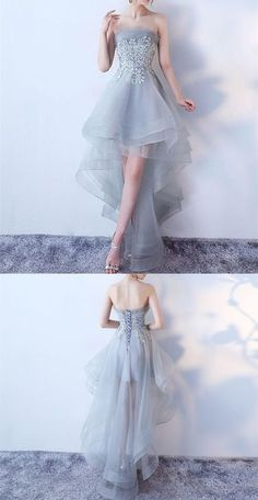 Elegant Grey Strapless Hi-Lo Prom Dress,Layered Appliques Homecoming Prom Dress from cutedressy Elegantes, graues, trägerloses High-Lo-Abendkleid mit geschichteten Applikationen und Abschlussballkleid · Cutedressy · Online-Shop Powered by Storenvy Dresses Elegant, Trendy Dresses, Cute Dresses, Beautiful Dresses, Casual Dresses, Short Dresses, Fashion Dresses, Dresses For Work, Formal Dresses