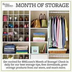 Join us for our annual Month of Storage where we'll share daily storage tips to help you store more and de-clutter. Click here to view our first tip: http://www.bhg.com/blogs/better-homes-and-gardens-style-blog/month-of-storage/