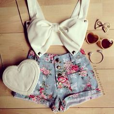 Bow white top with blue high waisted pants