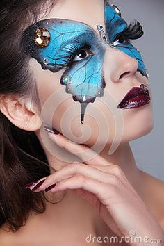 Fashion Make up. Butterfly makeup on face beautiful woman. Art P by Victoriaandreas, via Dreamstime