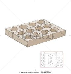 Shipping Tray Box for Round Contains with Die Cut Template