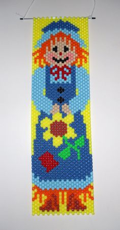 Handmade Fall Mrs. Scarecrow Beaded Banner with Nylon Cord