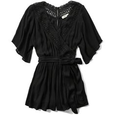 Abercrombie & Fitch Drapey Wrap Front Romper ($31) ❤ liked on Polyvore featuring jumpsuits, rompers, black, black romper, bell sleeve romper, playsuit romper, black rompers and abercrombie & fitch