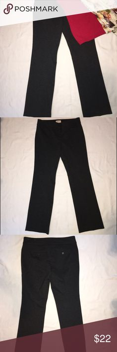 Ann Taylor LOFT Petite Stretch Slacks Charcoal gray stretch straight leg slacks. Flat waist, wrinkle resistant fabric travels well. These are great to pair with a jacket or sweater. Gently worn, no rips stains or pills. Ann Taylor Pants Trousers